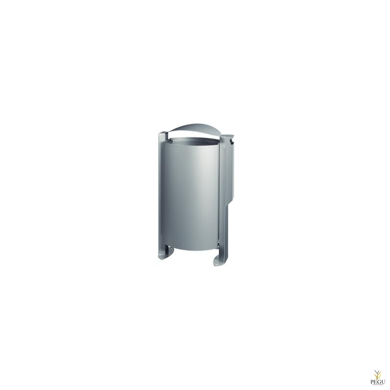 Уличная урна ARKEA 100L+3L пепельница металлик серый RAL9006
