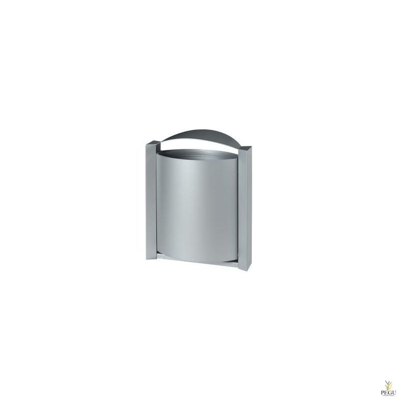 Prügikast välitingimusele seinale ARKEA 40L metall hall RAL9006