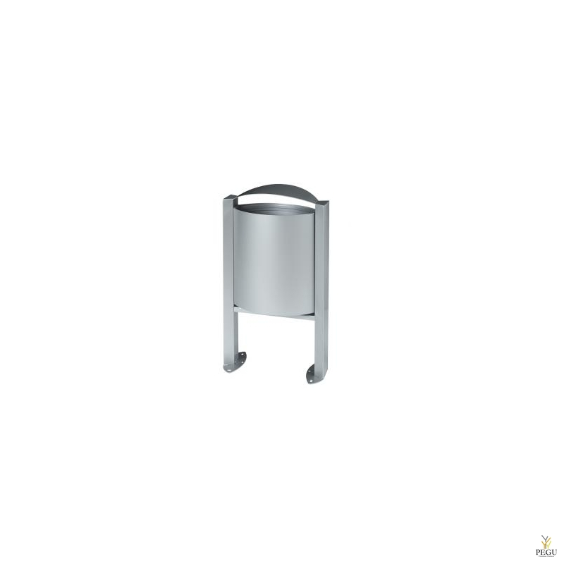 Prügikast välitingimusele ARKEA 40L metall hall RAL9006