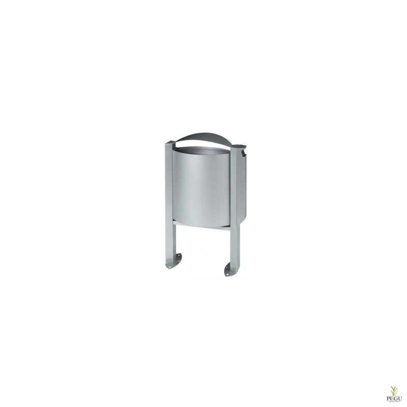 Уличная урна для мусора ARKEA 40L+3L с пепельницей металлический серый RAL9006