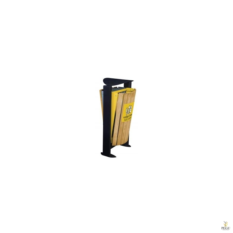 Урна уличная ARKEA WOOD, металл/дерево 2x60L серый-жёлтый