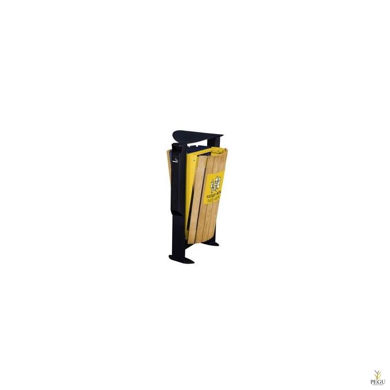 Урна уличная ARKEA WOOD, металл/дерево 2x60L жёлтый-ультрамарин, с пепельницей 3L