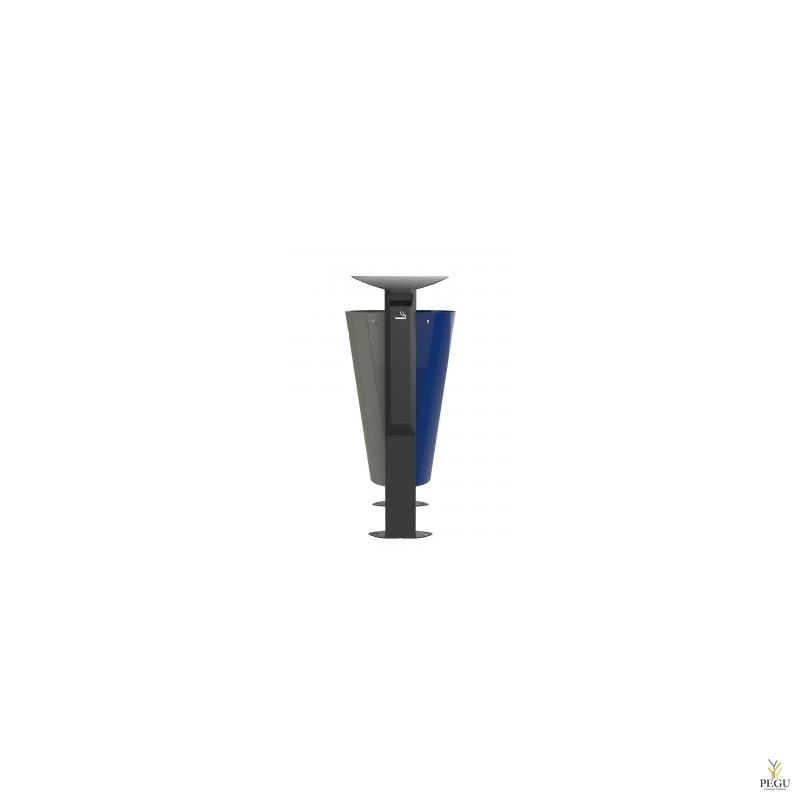 Prügikast välitingimusele ARKEA metall 2x60L Hall-Ultramarine, tuhatoosiga 3L