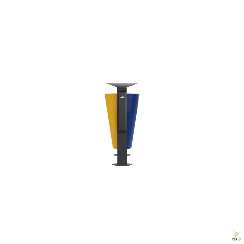Prügikast välitingimusele ARKEA metall 2x60L Kollane-Ultramarine, tuhatoosiga 3L