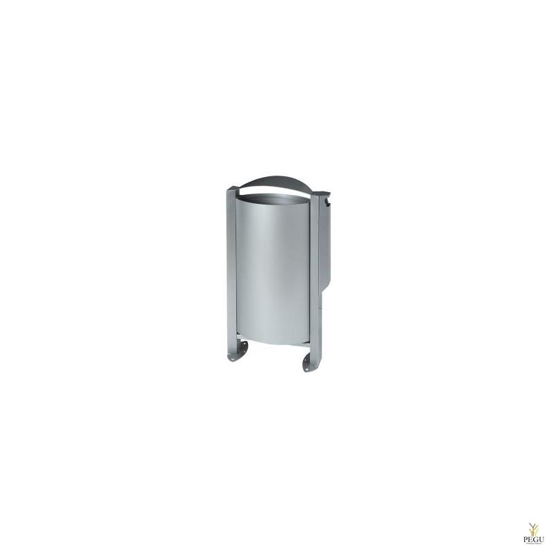 Уличная урна для мусора ARKEA 60L+3L пепельница металлический серый RAL9006