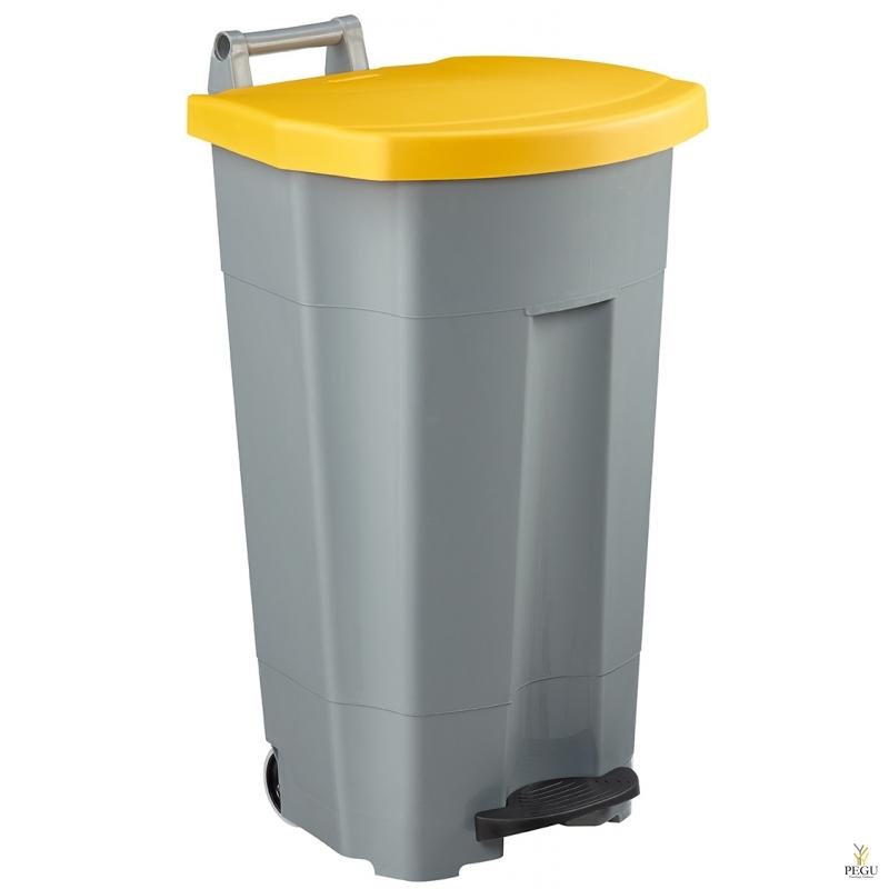 Prügikast pedaaliga ja kaanega BOOGY 90L plastik hall/kollane