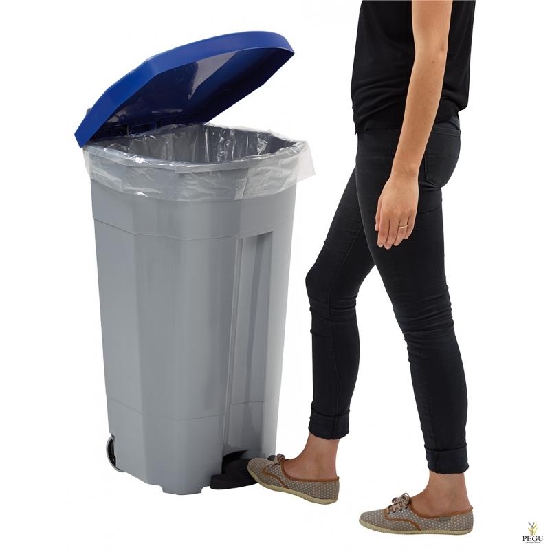 Prügikast pedaaliga ja kaanega BOOGY 90L plastik hall/sinine