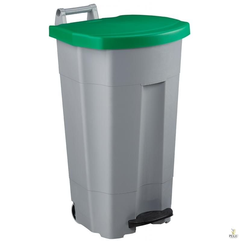 Prügikast pedaaliga ja kaanega BOOGY 90L plastik hall/roheline