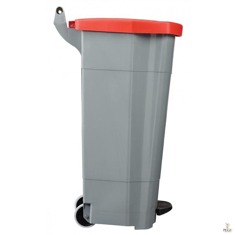 Мусорный бак с педалью и крышкой BOOGY 90L пластик серый/красный