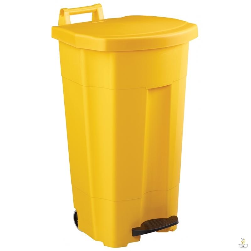 Prügikast pedaaliga ja kaanega BOOGY 90L plastik kollane