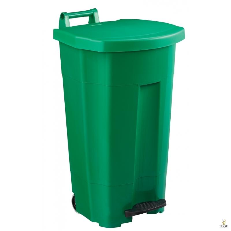 Prügikast pedaaliga ja kaanega BOOGY 90L plastik roheline