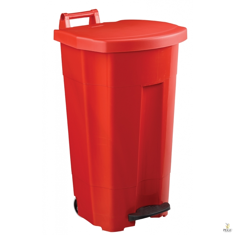 Prügikast pedaaliga ja kaanega BOOGY 90L plastik punane
