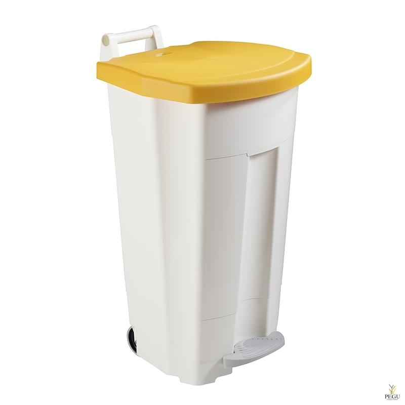 Prügikast pedaaliga ja kaanega BOOGY 90L plastik valge/kollane