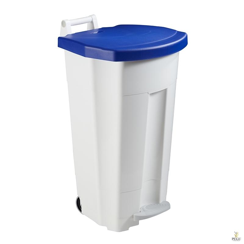 Prügikast pedaaliga ja kaanega BOOGY 90L plastik valge/sinine