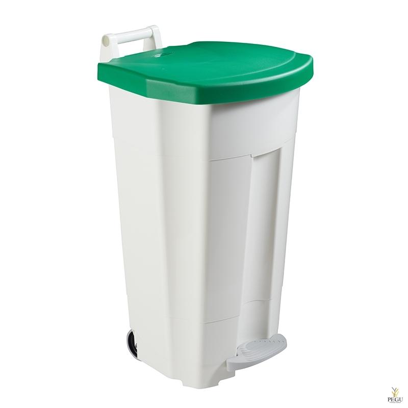 Prügikast pedaaliga ja kaanega BOOGY 90L plastik valge/roheline