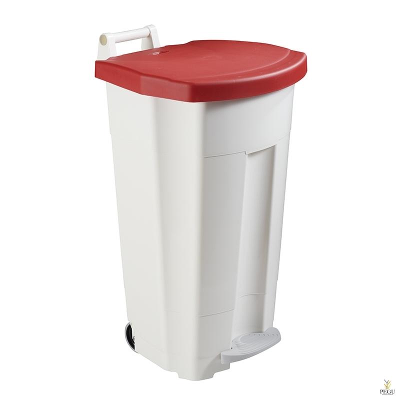 Prügikast pedaaliga ja kaanega BOOGY 90L plastik valge/punane