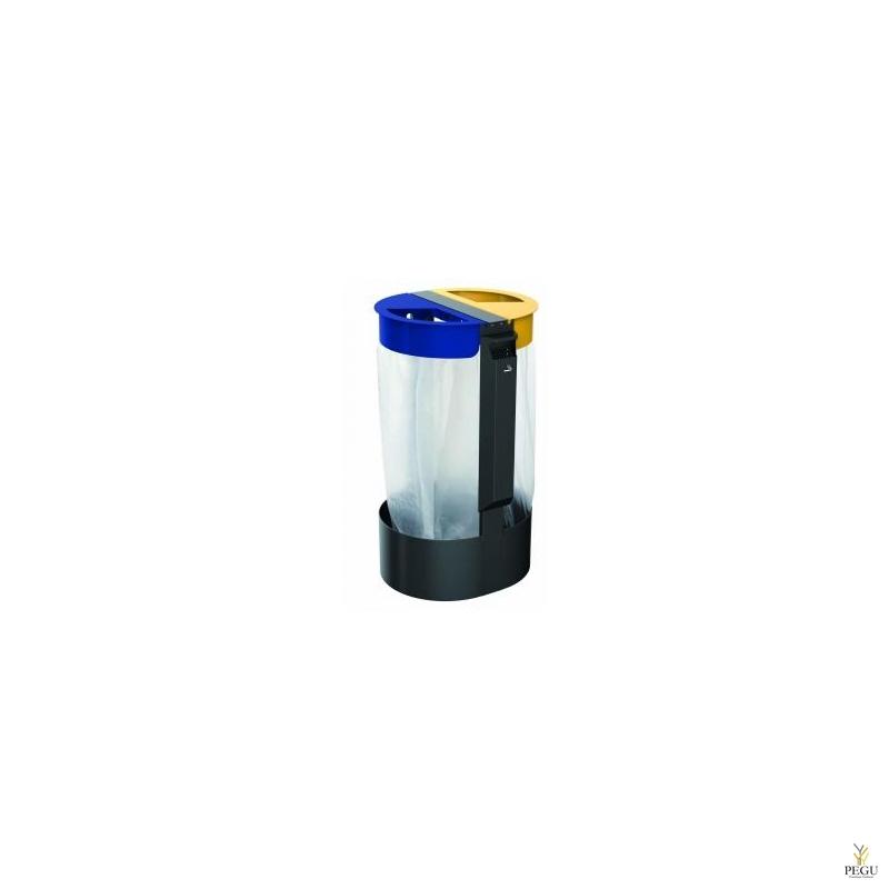 Держатель для мусорных пакетов c пепельницей 3L напольный 2-й 75L CITWIN PREMIUM магний- синий-жёлтый