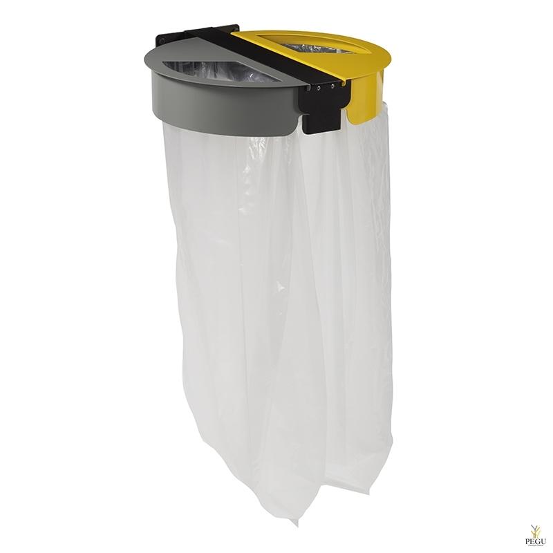 Мусорный держатель для сортировки мусора настенный 2-е 110L CITWIN ESSENTIEL серый-серый-жёлтый