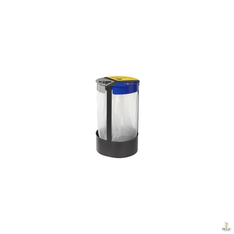 Sorteerimiseks prügikotihoidja vabaltseisev 3-ne 45L CITWIN ESSENTIEL hall- sinine-kollane-mangaan