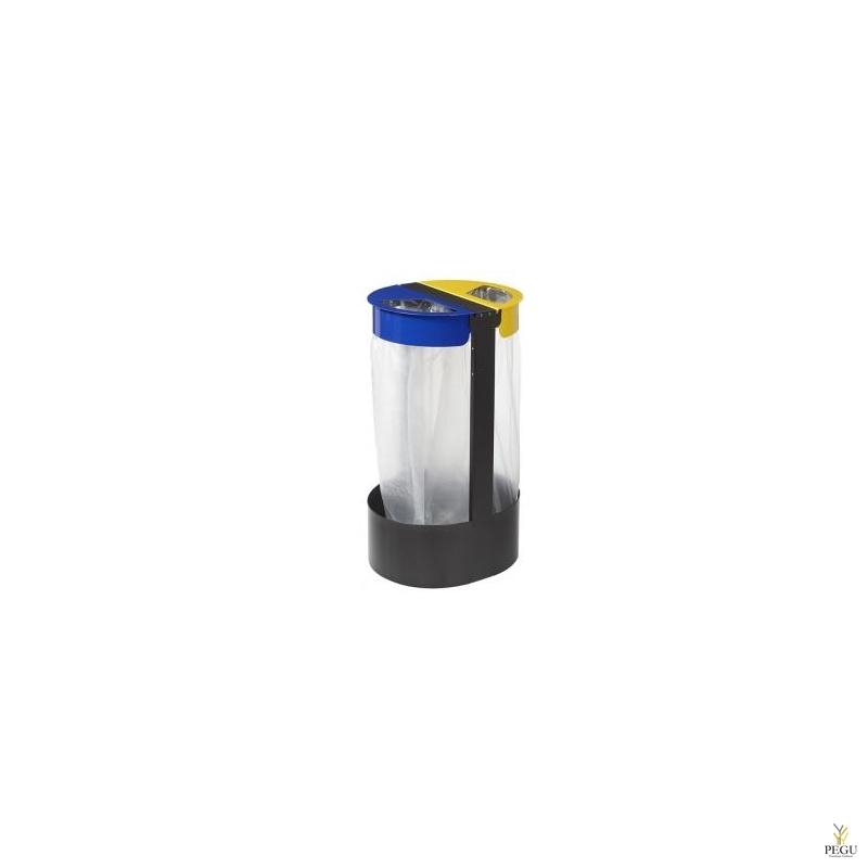 Sorteerimiseks prügikotihoidja vabaltseisev 2-ne 75L CITWIN PREMIUM hall- sinine-kollane