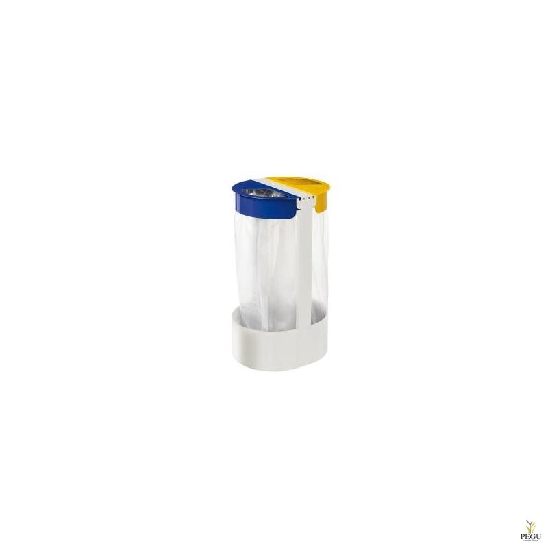 Sorteerimiseks prügikotihoidja vabaltseisev 2-ne 75L CITWIN ESSENTIEL valge- sinine-kollane