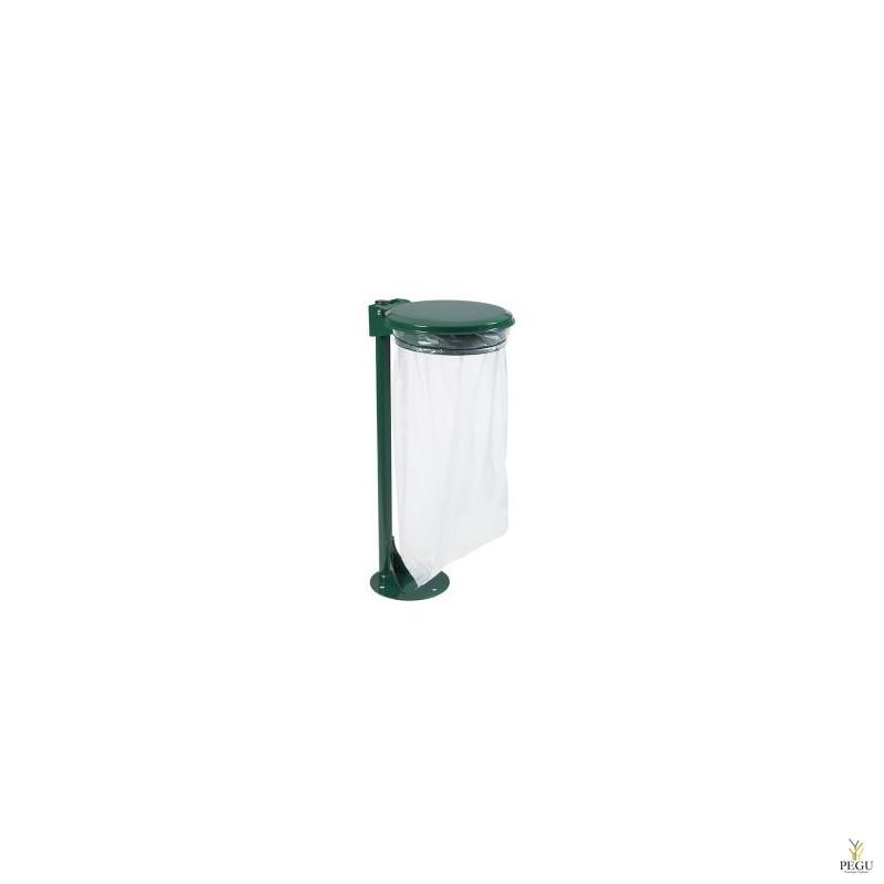 Prügikotihoidja kaanega postiga maapinnale COLLECMUR ESSENTIEL 110L moss roheline RAL6005