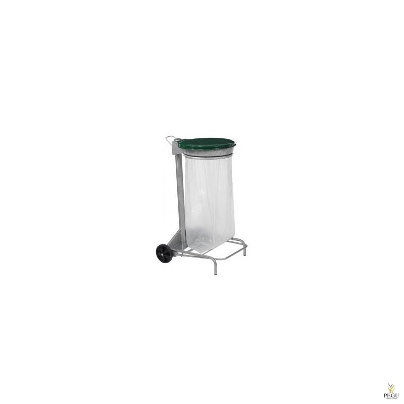 Kaanega ja pedaaliga suurköögi HACCP 110 L prügikoti hoidja hall/roheline RAL6005