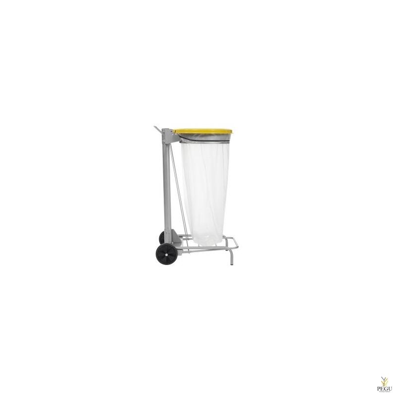 Kaanega ja pedaaliga suurköögi HACCP 110 L prügikoti hoidja hall/kollane RAL1021