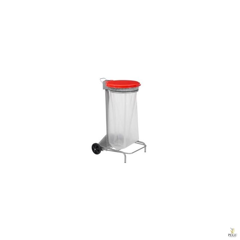 Kaanega ja pedaaliga suurköögi HACCP 110 L prügikoti hoidja hall/punane