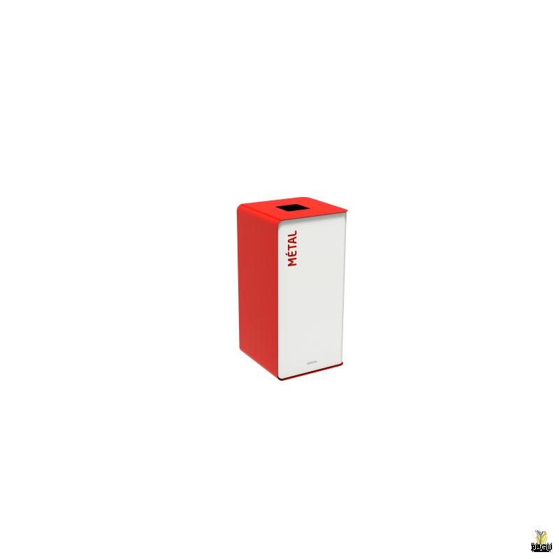 Мусорный бак для сортировки отходов CUBATRI 40L белый/красный RAL3020 металл