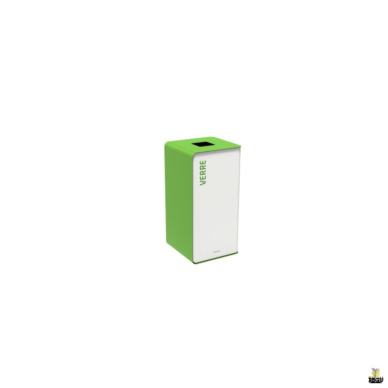 Мусорный бак для сортировки отходов CUBATRI 40L белый/зелёный RAL6018 RAL9022 стекло