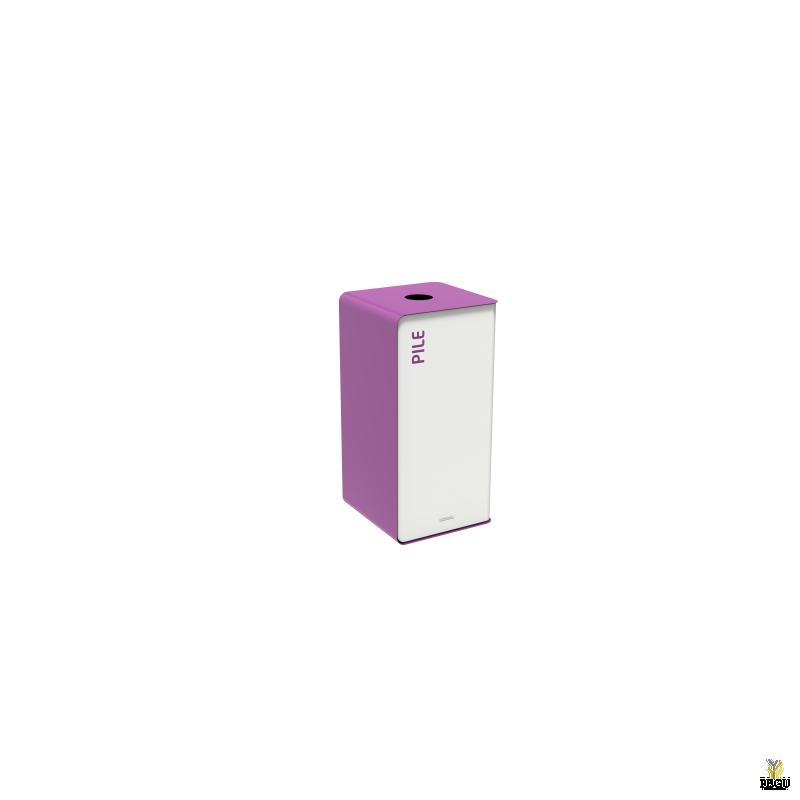 Мусорный бак для сортировки отходов CUBATRI 40L белый/фиолетовый RAL4008 батарейки