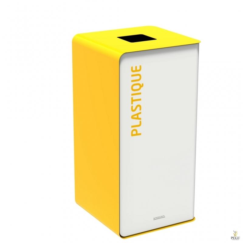Мусорный бак для сортировки отходов CUBATRI 75L белый/жёлтый RAL1021 пластик