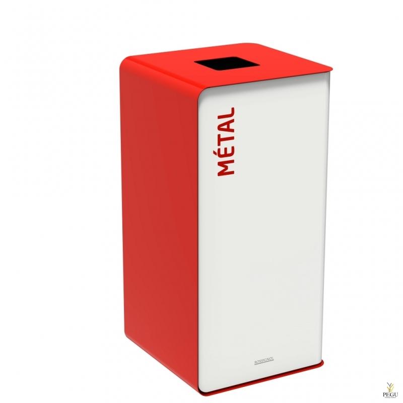 Мусорный бак для сортировки отходов CUBATRI 75L белый/красный RAL3020 металл