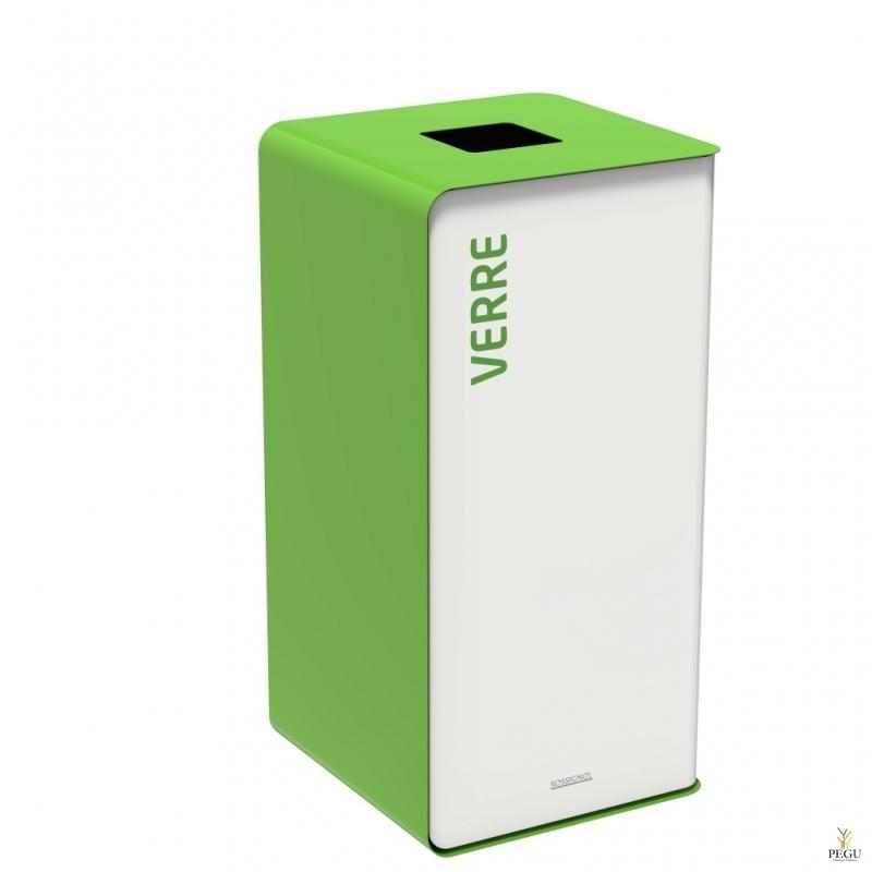 Sorteerimise prügikast CUBATRI 75L valge/roheline RAL6018 klaas