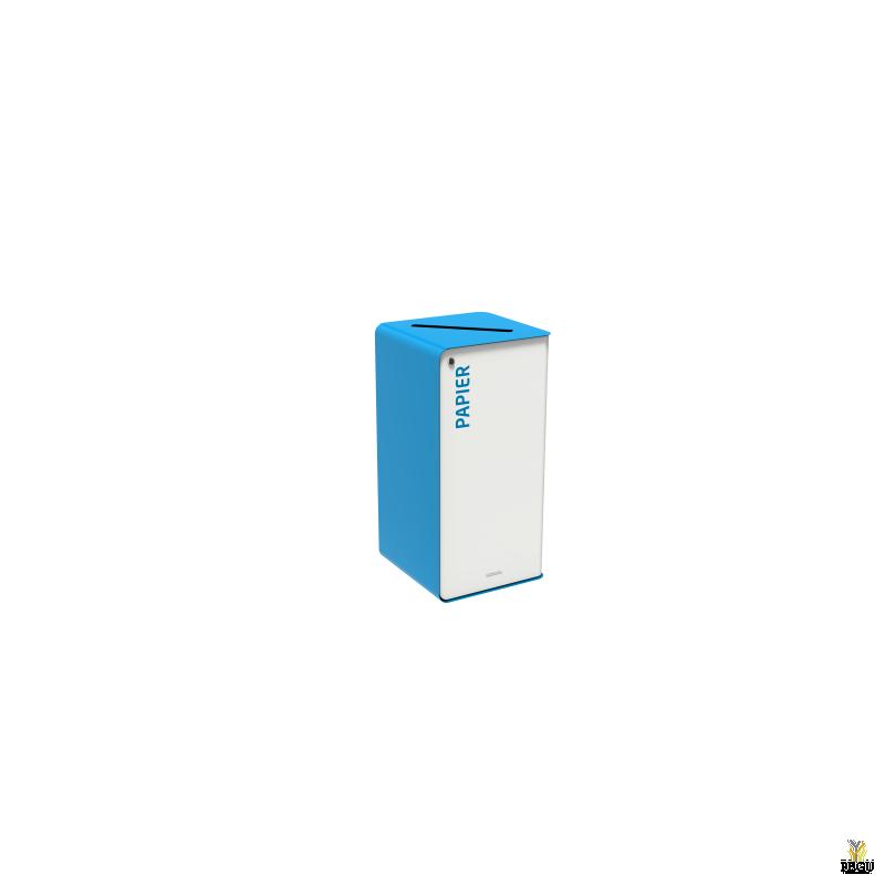 Sorteerimise prügikast lukuga CUBATRI 75L valge/sinine RAL5015 Paber