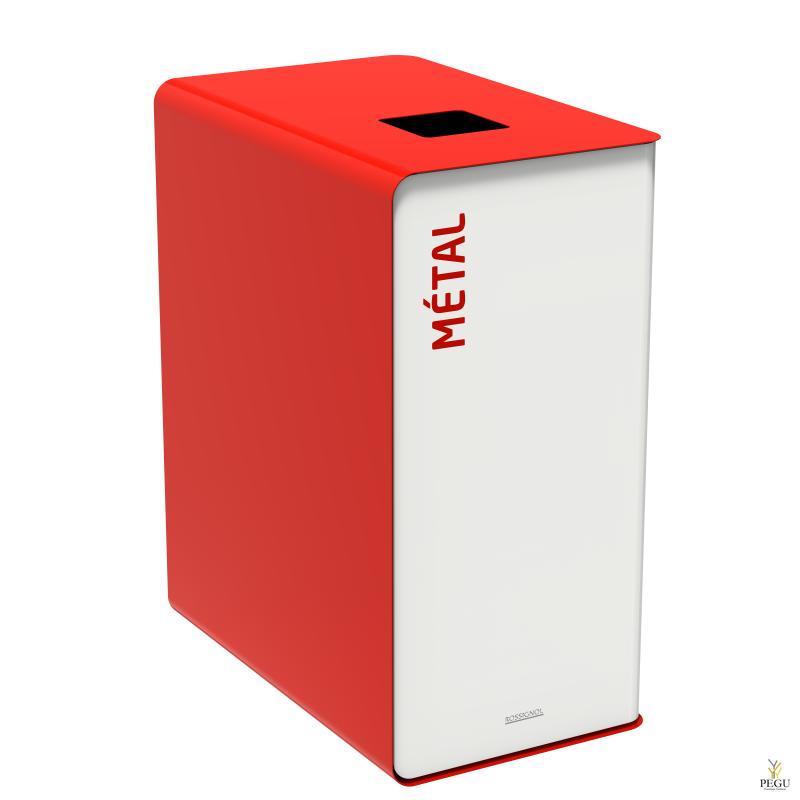 Sorteerimise prügikast CUBATRI 90L valge/punane RAL3020 metall
