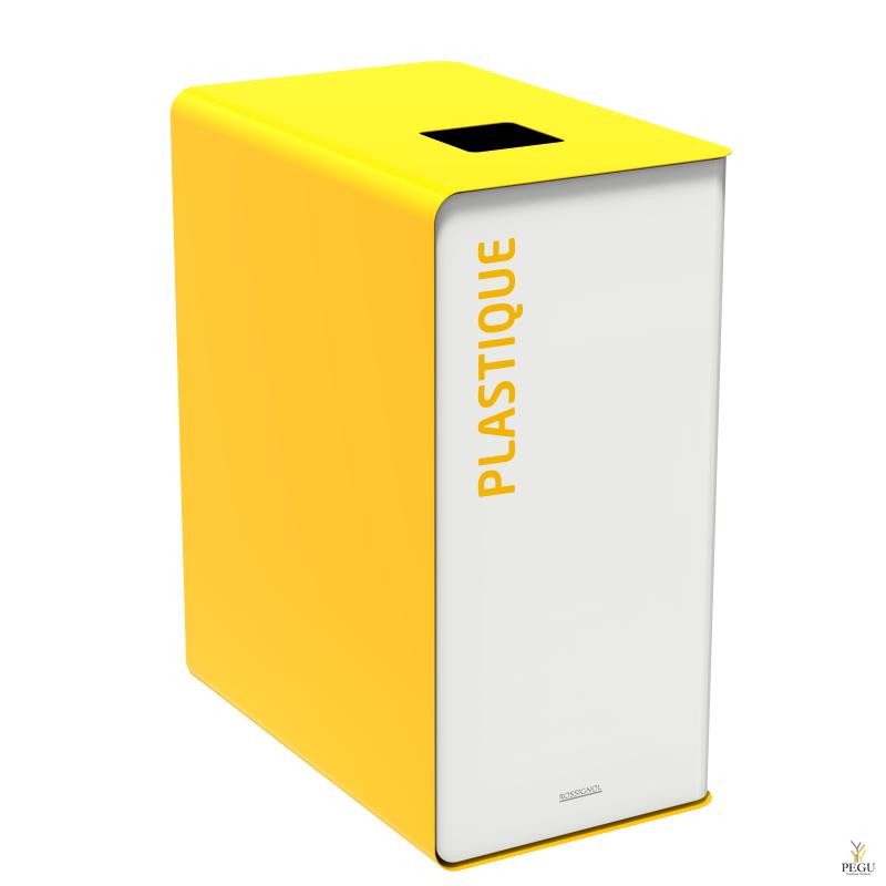 Мусорный бак для сортировки отходов CUBATRI 90L белый/жёлтый RAL1021 пластик
