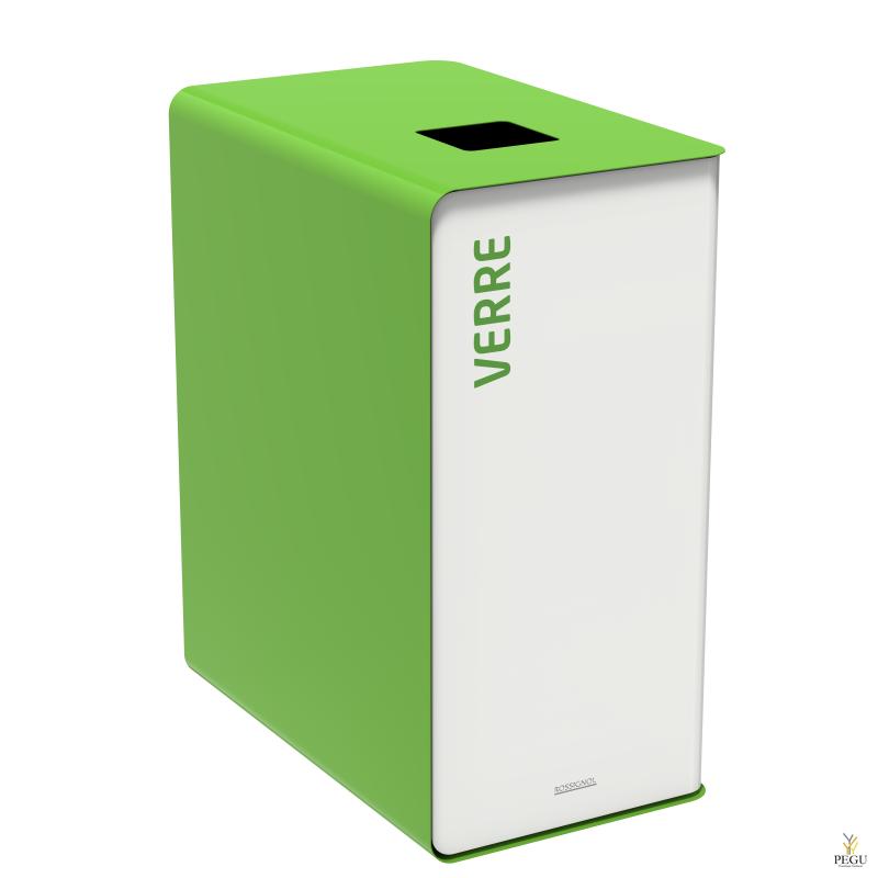 Sorteerimise prügikast CUBATRI 90L valge/roheline RAL6018 klaas