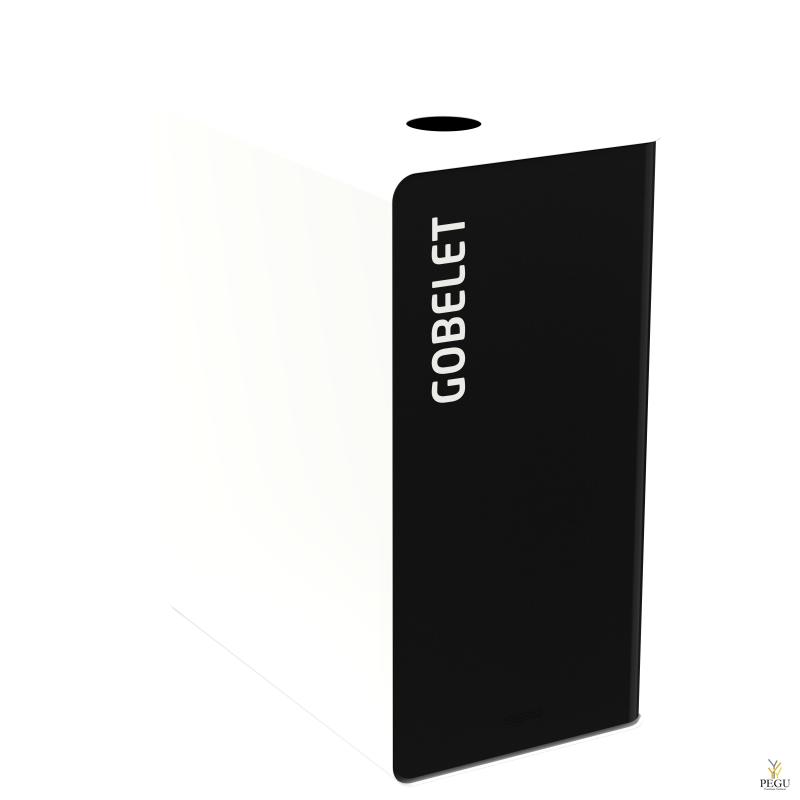 Мусорный бак для сортировки отходов CUBATRI 90L магний/белый RAL9016 стаканчики