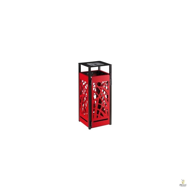Уличная урна с пепельницей 1.5L Rossignol CYBEL металл 110L матовый антрацит +рубин красный RAL3003