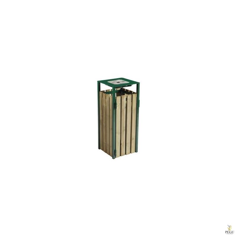 Prügikast Rossignol välitingimusele EDEN puit/metall 110L , tuhatoosiga 1.5L RAL6005 moss green