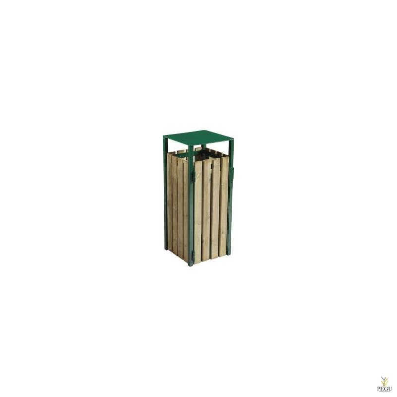Prügikast Rossignol välitingimusele EDEN puit/metall 110L RAL6005 roheline foam green
