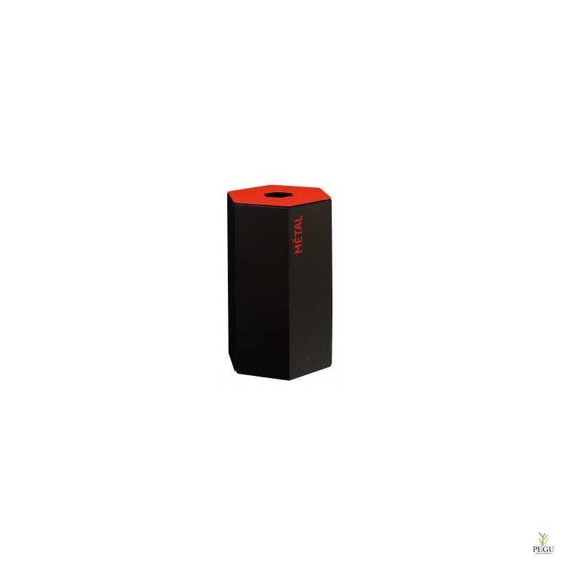 Rossignol HEXATRI урна для сортировки мусора 50L, красный/чёрный сталь
