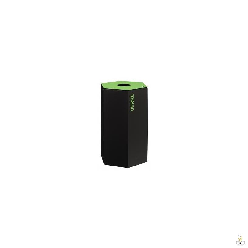 Rossignol HEXATRI урна для сортировки мусора с замком 50L, зелёный/чёрный сталь