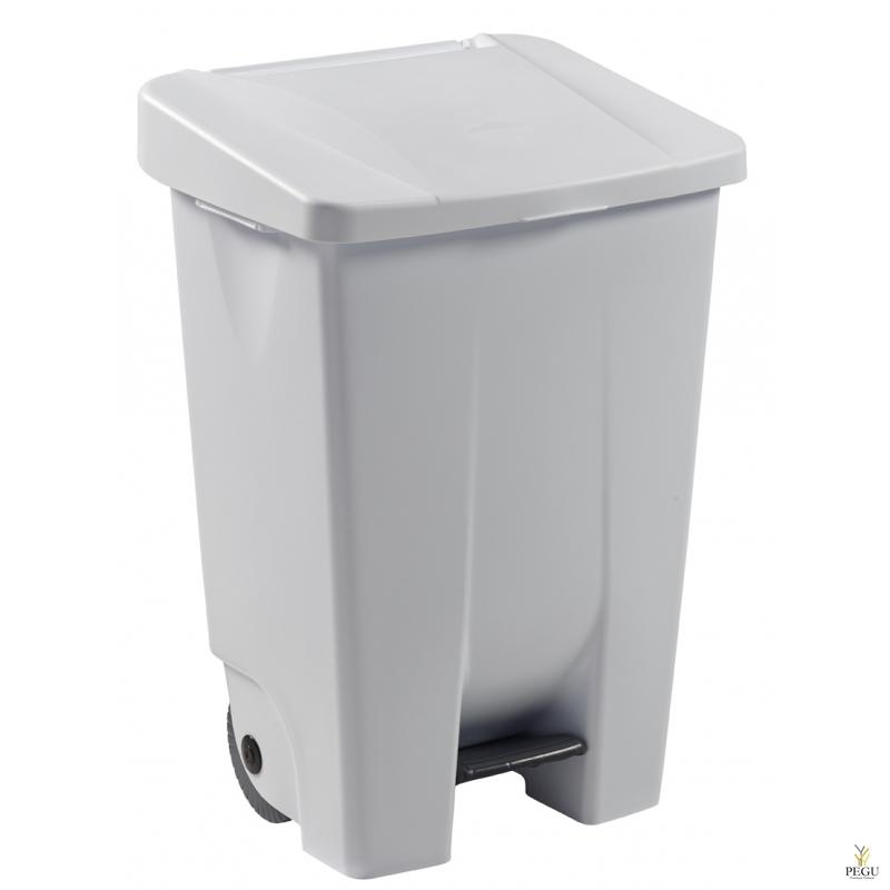 Мусорный контейнер с педалью и крышкой MOBILY 80L пластик белый/белый