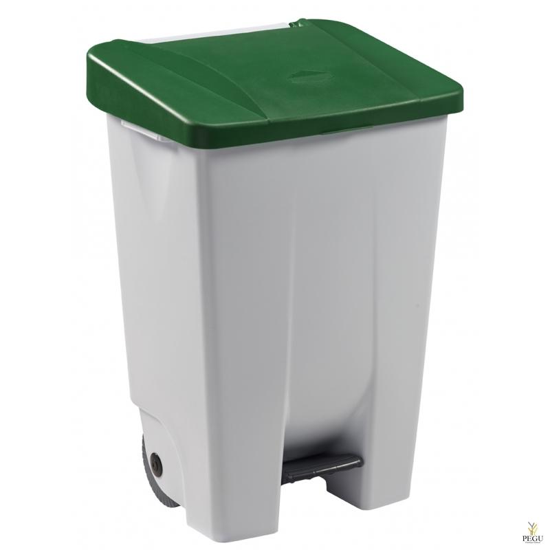 Prügikast pedaaliga ja kaanega MOBILY 80L plastik valge/roheline