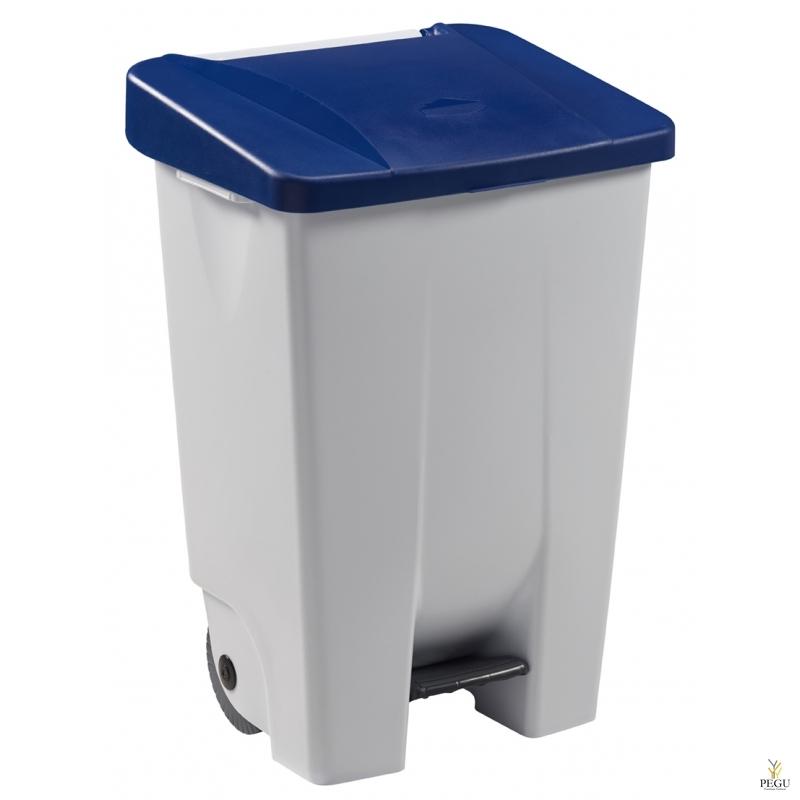 Prügikast pedaaliga ja kaanega MOBILY 80L plastik valge/sinine