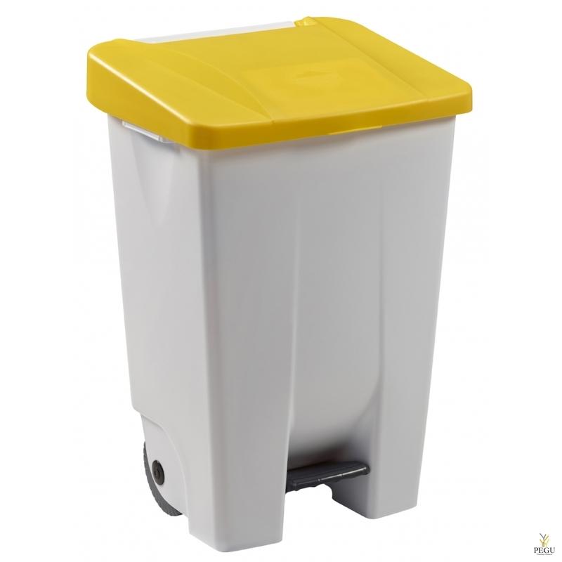Мусорный контейнер с педалью и крышкой MOBILY 80L пластик белый/жёлтый