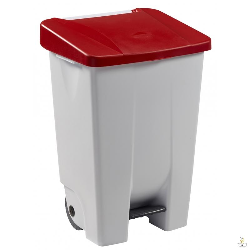 Prügikast pedaaliga ja kaanega MOBILY 80L plastik valge/punane